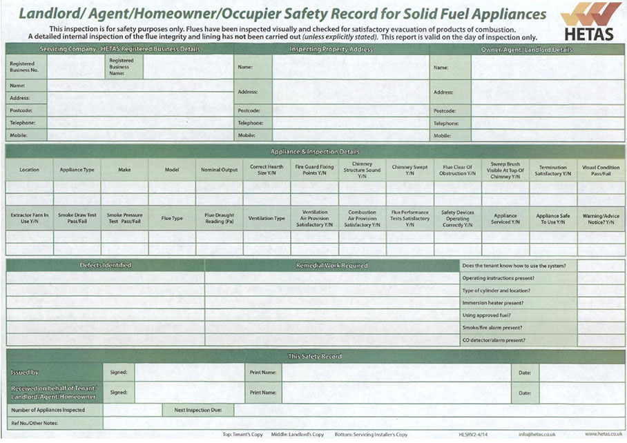 Safety Record for Solid Fuel Appliances